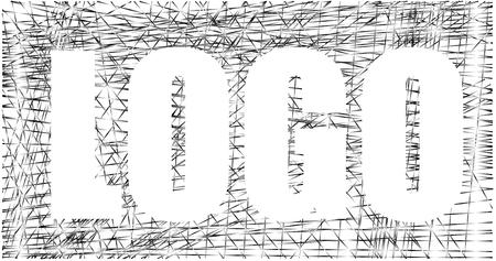 Inverse logo design, contrast silver net, graphic vector Ilustração