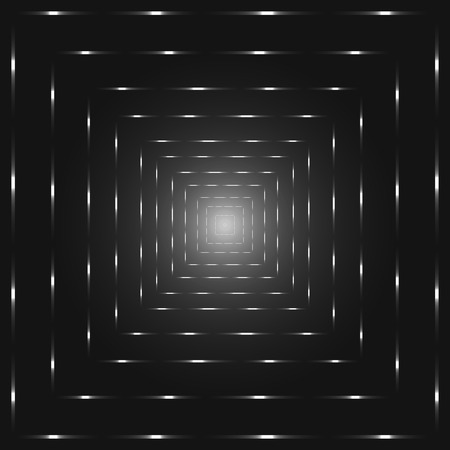 Silver perspective abstract tunnel, shades of grey punctuated square lines vector background