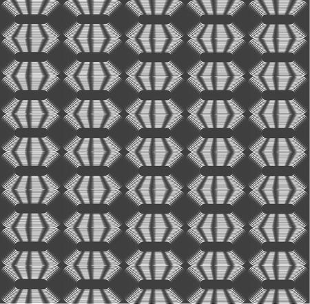 Rhombic silver periodic diamonds, shades of grey optical illusion seamless vector background Ilustração