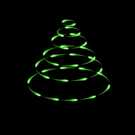 Green cone made by fireflies, modern vector christmas tree icon, dark background