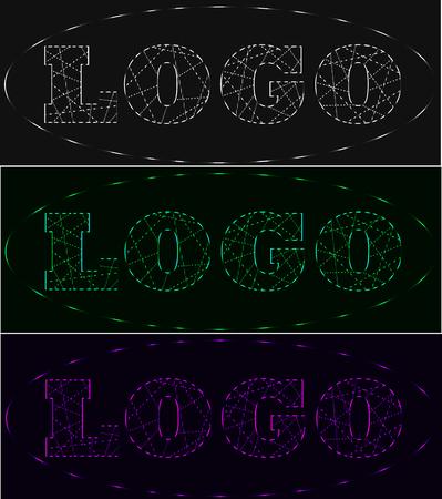 Laser beams neon logo set, shades of grey, green, violet
