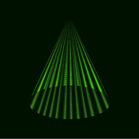Modern green Christmas tree, laser cone vector background, icon Ilustração