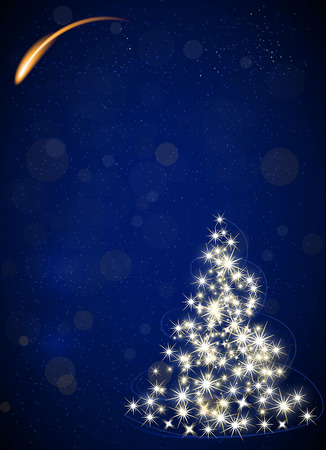 Christmas tree made by stars, night blue vector background, falling star Ilustração