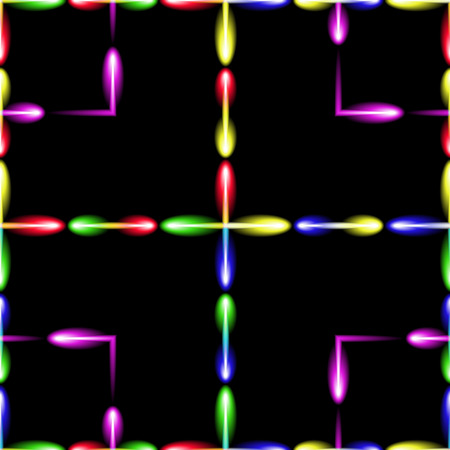 glowworm: Black vector background with flying glow-worms, squared seamless pattern