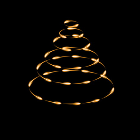 Gold cone made by fireflies, modern vector christmas tree icon, dark background