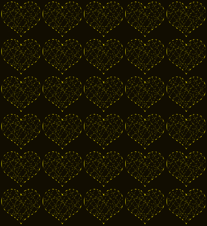 Golden hearts, seamless periodic pattern, love symbol vector background