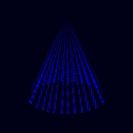 Modern royal blue Christmas tree, laser cone vector background, icon Ilustração