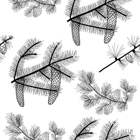 Conifer trees branches seamless pattern, vector black drawing, transparent background.
