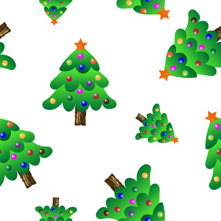 Christmas tree seamless periodic pattern, colorful vector wallpaper, transparent background.