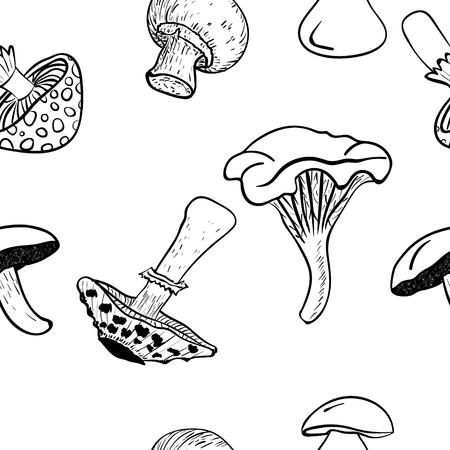 Vector mushrooms seamless pattern background, black drawing. Ilustração