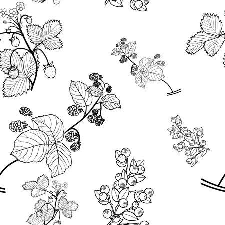 Raspberry, strawberry, blueberry seamless pattern, black vector drawing, transparent background.