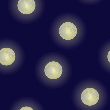 Full moons vector seamless periodic pattern background.