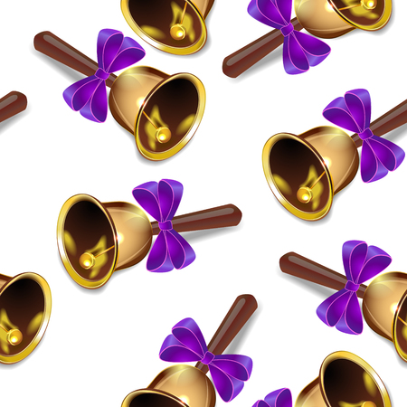 Realistic christmas bells seamless vector background, purple ribbon, periodic pattern. Ilustração