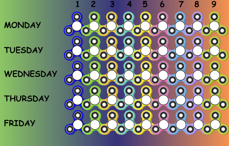 School timetable with colorful fidget spinners for kids and teenagers, vector time sheet.