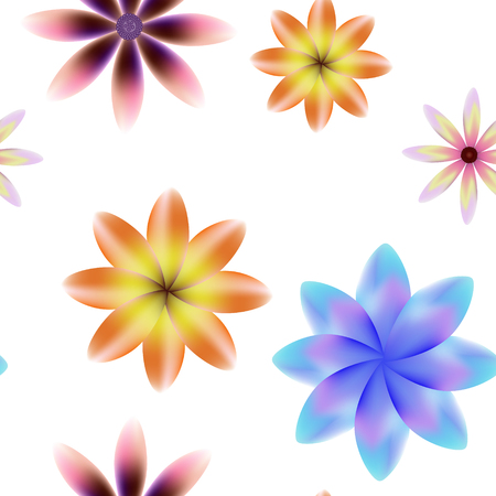 Colorful blossoms seamless vector pattern, transparent background.