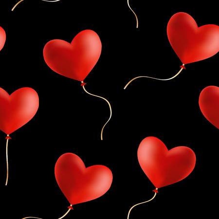 Flying heart shaped balloons, vector seamless background. Ilustração