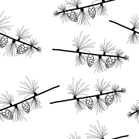 Larch branches, tamarack seamless vector wallpaper, transparent background.