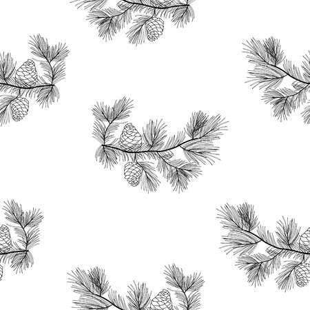 Pine tree branches seamless pattern, transparent background.