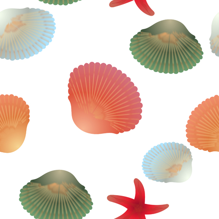 Colorful shells and red starfishes, seamless pattern, transparent background.