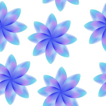 Blue purple blossoms, seamless periodic floral pattern Ilustração