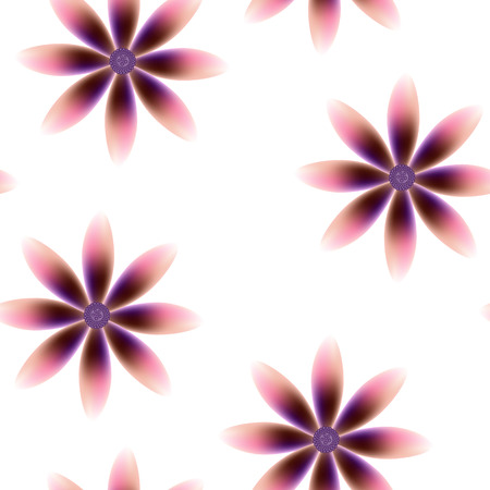 Purple brown pink blossoms, seamless periodic floral pattern