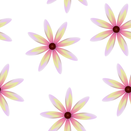 Purple yellow pink blossoms, seamless periodic floral pattern