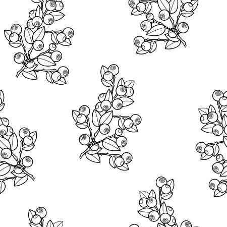 Wild blueberries seamless vector background Ilustração