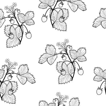 Wild strawberries seamless vector Ilustração