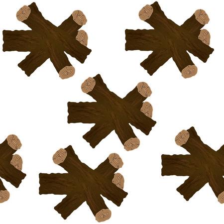 Realistic firewood stacks seamless background, periodic pattern.