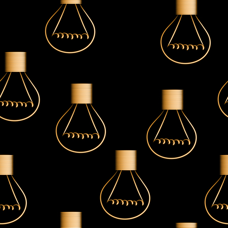 Light bulbs seamless vector background, periodic pattern.