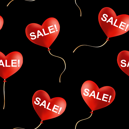 Sale! sign on flying heart shaped balloons, seamless vector background