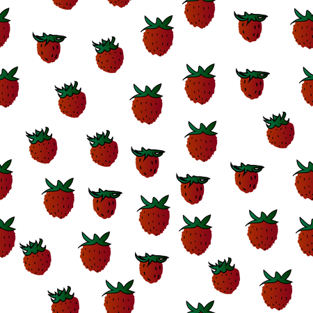 Wild strawberries, vector fruits, seamless background