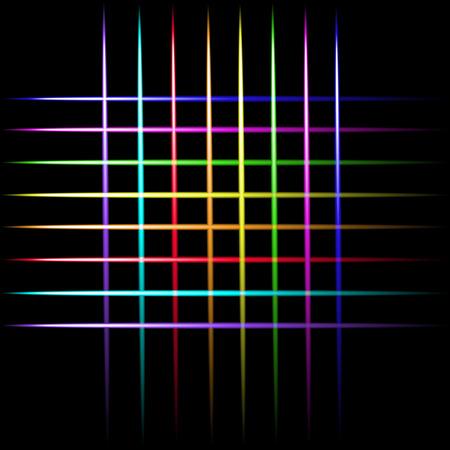 Laser beam neon crossing lines, colorful lights vector black background. Ilustração