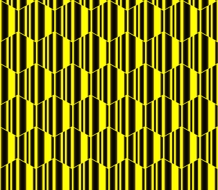 Yellow striped hexagons, honeycomb seamless pattern, vector background.