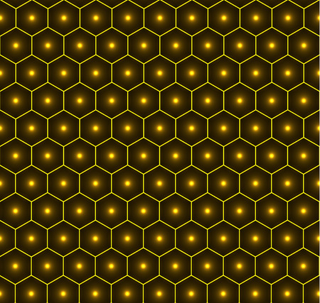 Gold honeycomb seamless vector background pattern, bright dots in the middle.
