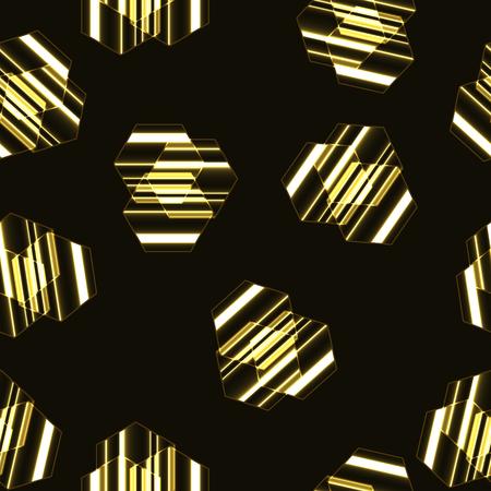 Modern seamless vector pattern, golden striped hexagons background.