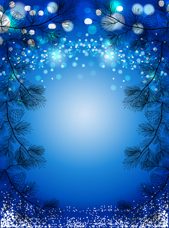 Blue Christmas background with snow and black pine spruces, sparkling winter vector background.