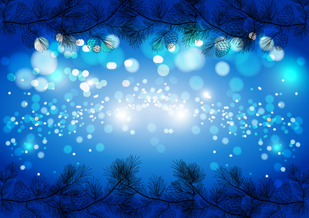 Blue Christmas sparkling background, winter vector card template.