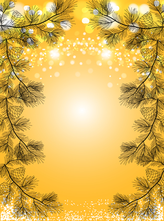 Gold Christmas background with snow and black pine spruces, sparkling holiday vector background. Ilustração