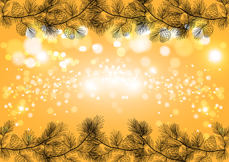 Golden Christmas sparkling background, winter holiday vector card template.