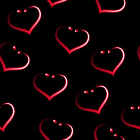 Heart shaped earrings like seamless red pattern, black vector background.