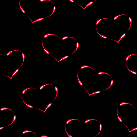 Hearts made by fen fires,  seamless pattern, vector background. Ilustração
