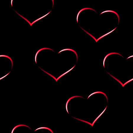Red neon hearts, seamless vector background.