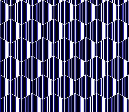 Blue white and black striped hexagons, honeycomb seamless pattern, modern vector background.