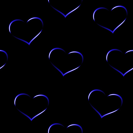 Royal blue neon hearts, seamless vector background.