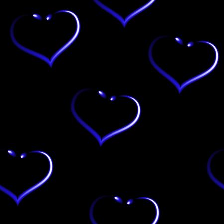 Heart shaped earrings like seamless royal blue pattern, black vector background. Ilustração