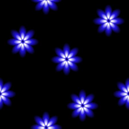 Beautiful blue blossoms, blur seamless vector background.