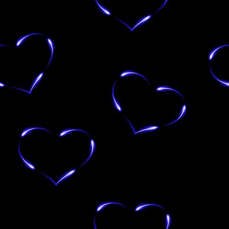 Royal blue hearts made by fen fires,  seamless pattern, vector background. Ilustração