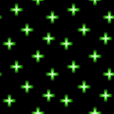 Green neon glowing cross, modern pharmacy symbol, seamless vector background. Ilustração