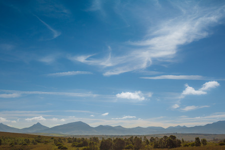 A distant mountain range in South Africa Stock Photo